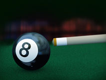 3d black eight pool ball. 3d illustration of cue stick set for hitting billiard black eight ball Royalty Free Stock Images