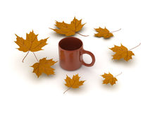 3D illustration of a cup of coffee with yellow autumn leaves aro Royalty Free Stock Photo