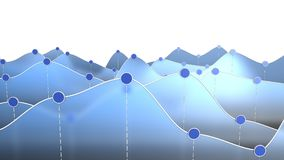 3D illustration of a curve chart or line graph. 3D illustration of a blue curve chart or line graph Royalty Free Stock Images