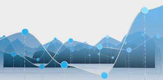 Blue curve chart or line graph. 3D illustration of a curve chart or line graph on white baclground Royalty Free Stock Photography