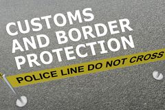 CUSTOMS AND BORDER PROTECTION (CBP) concept. 3D illustration of CUSTOMS AND BORDER PROTECTION concept title on the ground in a police arena Stock Photos