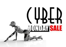 3D illustration. Cyber monday design with fashion cyborg. The woman stock illustration