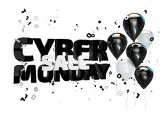 3D illustration of cyber monday sale poster. Sale banner with balloons and confetti Stock Images
