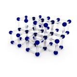 3d Illustration, 3d übertragen Glasmolekül des wissenschaftlichen Konzeptes der abstrakten Angelegenheit Eckige Atome werden von  Stock Abbildung