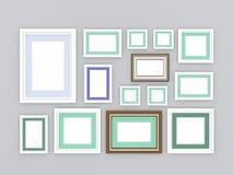 3d Illustration, 3d übertragen, Zusammensetzung von rechteckigen leeren Fotorahmen auf einem abstrakten Hintergrund Stockbild