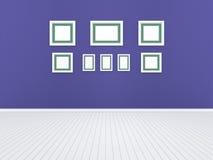3d Illustration, 3d übertragen, Zusammensetzung von rechteckigen leeren Fotorahmen auf einem abstrakten Hintergrund Stockfotografie