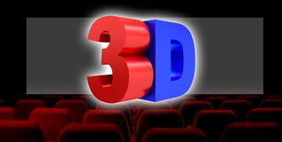 3D illustration, 3D digital cinema industry technology concept. stock illustration