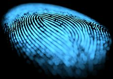Fingerprint Over Black. 3D illustration. 3D holographic fingerprint on black background Stock Images