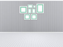 3d illustration, 3d render, composition of rectangular empty photo frames on an abstract background. With a periodic linear pattern Stock Photos