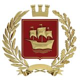 3D illustration Heraldry, red coat of arms. Golden olive branch, an oak branch, a crown, a shield, a ship. Isolat. 3D illustration, 3d rendering, Heraldry, red Royalty Free Stock Images