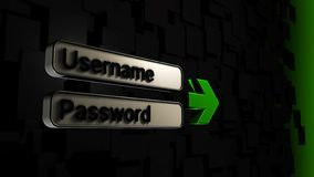 3D illustration of 3D username and password fields with a green arrow and dark gray background. Formed from dark gray squares royalty free illustration