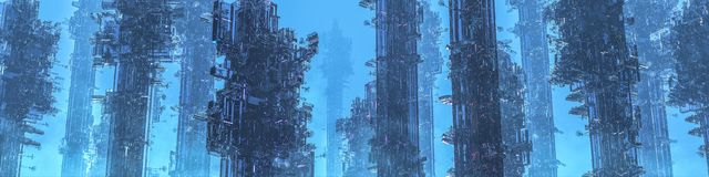 Space colony towers panorama Royalty Free Illustration