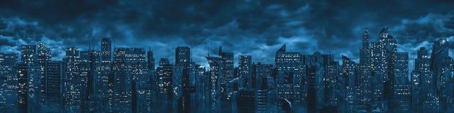 Science fiction city night panorama royalty free stock photos