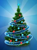 3d dark green Christmas tree over blue. 3d illustration of dark green Christmas tree with blue tinsel over blue background Royalty Free Stock Photo