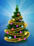 3d dark green Christmas tree over blue. 3d illustration of dark green Christmas tree with golden tinsel over blue background Stock Photo