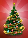 3d dark green Christmas tree over red. 3d illustration of dark green Christmas tree with golden tinsel over red background Royalty Free Stock Photo
