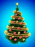 3d blank. 3d illustration of dark green Christmas tree over blue with red balls and frippery Royalty Free Stock Photography