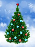 3d dark green Christmas tree over snow. 3d illustration of dark green Christmas tree with red balls over snow background Stock Images