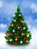 3d dark green Christmas tree over snow Royalty Free Stock Images