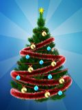3d dark green Christmas tree over blue Royalty Free Stock Photography