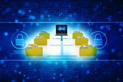 3d illustration of Data sharing concept. Data network, folder network in technology background. 3d rendering Stock Images