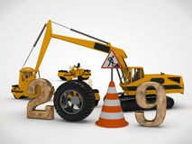 3D illustration date 2019 New year, the image of a traffic cone and a stop sign, for the calendar. 3D rendering of road machinery royalty free illustration