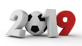 3D illustration of the 2019 date, the idea for the calendar. Instead of zero is a soccer ball. Image isolated on white background, royalty free illustration