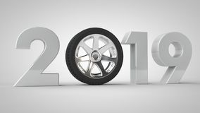 3D illustration de 2019, date de vacances avec la roue de voiture L'idée de l'ère des voitures, des véhicules et du transport iso illustration de vecteur