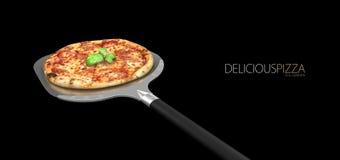 3d illustration de pizza faite maison sur une pelle, noir d'isolement Images stock