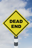 Dead End concept. 3D illustration of DEAD END script on road sign Royalty Free Stock Photos