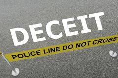 Deceit - criminal concept. 3D illustration of DECEIT title on the ground in a police arena Royalty Free Stock Photo