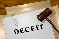 DECEIT - legal concept. 3D illustration of DECEIT title on legal document Stock Photography