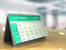 December 2018. 3d illustration of december 2018 calendar on office table Royalty Free Stock Image