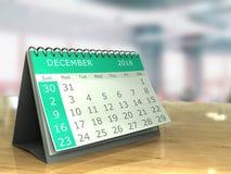 December 2018. 3d illustration of december 2018 calendar on office table Stock Illustration