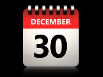 3d 30 december calendar. 3d illustration of 30 december calendar over black background Royalty Free Stock Photos