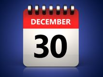3d 30 december calendar. 3d illustration of 30 december calendar over blue background Stock Photography