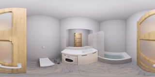 3d illustration 360 degrees panorama of bathroom interior Royalty Free Stock Image