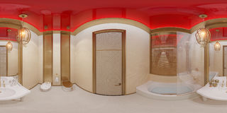 3d illustration 360 degrees panorama bathroom Royalty Free Stock Photography