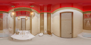 3d illustration 360 degrees panorama bathroom Royalty Free Stock Image