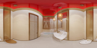 3d illustration 360 degrees panorama bathroom Stock Image