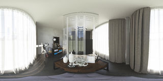 3d illustration 360 degrees panorama of bedroom Royalty Free Stock Photo