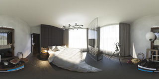 3d illustration 360 degrees panorama of bedroom Stock Photos