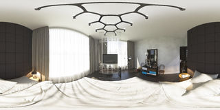 3d illustration 360 degrees panorama of bedroom Royalty Free Stock Photos
