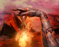 3D illustration of a demonic hand spell first person view. Royalty Free Stock Images