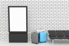 3d Blank billboard stand and travel suitcase. Mockup. 3d illustration. departure lounge with Blank billboard stand and travel suitcase. Travel concept royalty free illustration