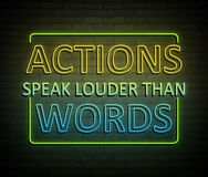 Actions speak louder than words. 3d Illustration depicting an illuminated neon sign with an actions speak louder than words concept Royalty Free Stock Photography