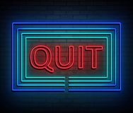 Neon quit concept. 3d Illustration depicting an illuminated neon sign with a quit concept Royalty Free Stock Photos