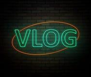 Neon vlog concept. stock illustration