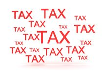 3D illustration depicting many signs saying TAX Stock Photos