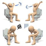 3D illustration depicting pain of constipation, and opening feeling after recovery. Stock Photography